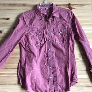Gap Long Sleeve Red Snap button cowboy shirt